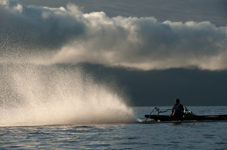 astern: Water spraying out astern. Stock Photo