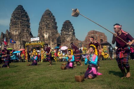 Traditional Thai dancing of Thailand Monkey Party,Lopburi,Thailand. Editorial