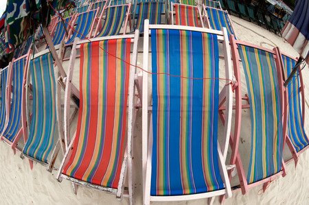 deck chairs: Deck chairs on the beach.