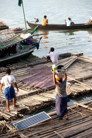 raft: People living bamboo raft. Editorial