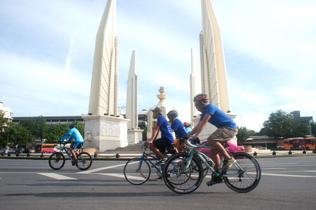 democracy Monument: Cyclist took part in Car Free Day event at RajchadamnoenKlang road near Democracy Monument in Bangkok capital of Thailand. Editorial