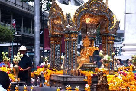 phrom: The shrine of the four-faced Brahma (Phra Phrom) in Bangkok,Thailand.