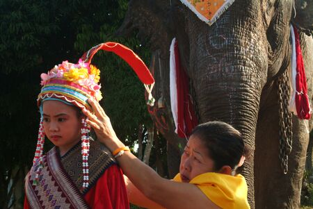 novice: Dress of Novice in Si Satchanalai Elephant Back Ordination Procession.