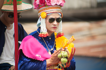 novice: Portrait of Buddhist Novice in traditional dress in Si Satchanalai Elephant Back Ordination Procession.