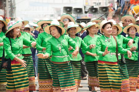 thai dancing: Traditional Thai dancing in Si Satchanalai Elephant Back Ordination Procession. Editorial