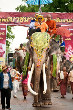 mahout: Ordination parade on elephants back Festival. Editorial