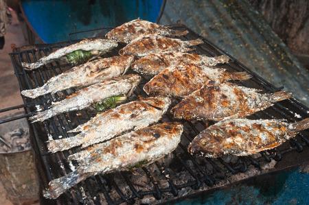 coal fish: Fresh fish on grill. Stock Photo