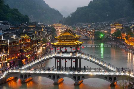 Twilight of Fenghuang ancient city  Phoenix town . Reklamní fotografie