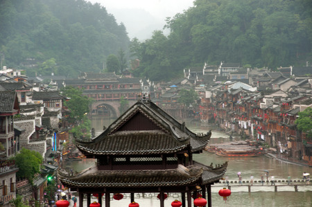 View of Fenghuang ancient city  Phoenix town .