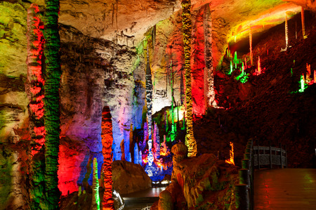 Colorful of Huanglong cave or Yellow Dragon cave in China.