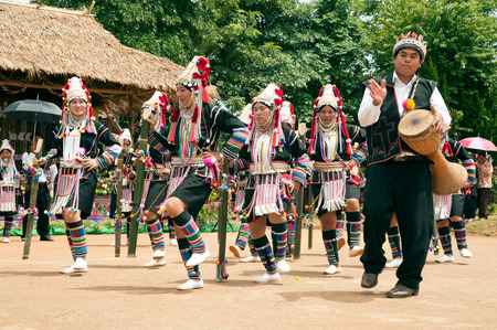 celebrate life: Akha celebrate life and Fertility dancing with Annual Swing Festival. Editorial