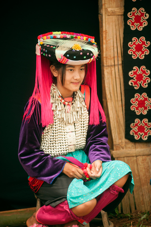 minority: Portrait of teen Lisu Hill Tribe Minority. Editorial