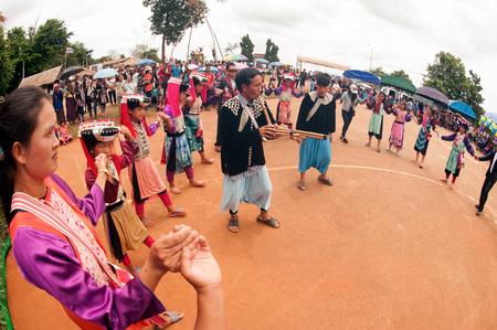 minority: Lisu Hill Tribe Minority in traditional dancing in Thailand.