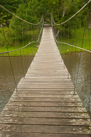 oxigen: Hanging bridge at deep forest in Khao Yai National park,Thailand. Stock Photo