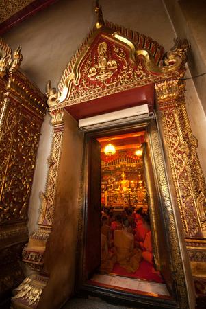 chanting: The Thai Buddhist Monks chanting in Wat Panan Choeng,Ayutthaya,Thailand-3
