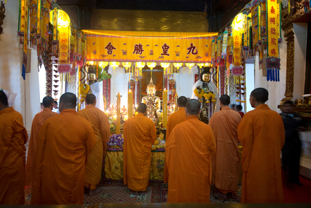 chanting: The Chinese Monks chanting in Wat Phanan Choeng,Ayutthaya,Thailand.
