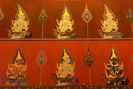 faerie: Ancient Buddhist mural in the Church of Wat Phanan Choeng,Ayutthaya,Thailand.