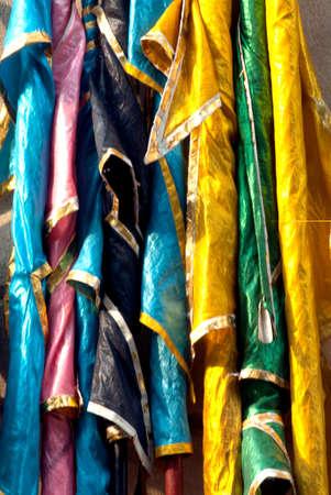 batik pattern: Colorful Thai textiles in hanging. Stock Photo