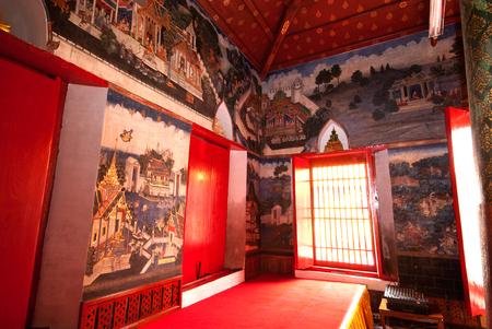 nakhon: Beautiful Mural art in Wat Kasattrathirat Worawihan,Ayutthaya Historical Park of Thailand. Editorial
