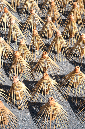the sun and shade: Wooden frame umbrella of the sun shade. Stock Photo