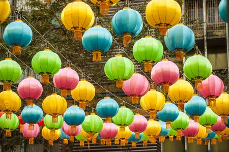 yellow tassel: The traditional Chinese new year lanterns are for celebration. Stock Photo