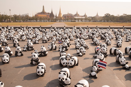 humanism: 1600 Pandas World Tour in Thailand by WWF at Sanamluang ,Bangkok.1600 paper marche pandas are made from recycled materials to represent 1600 pandas left in the wild.