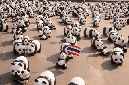 1600 Pandas World Tour in Thailand by WWF at Sanamluang ,Bangkok.1600 paper marche pandas are made from recycled materials to represent 1600 pandas left in the wild.