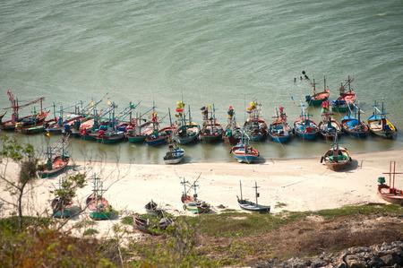 moored: Moored fishing boats, Khao Tao beach, Thailand.