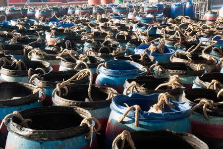 fish tank: Plastic tank on fish market.