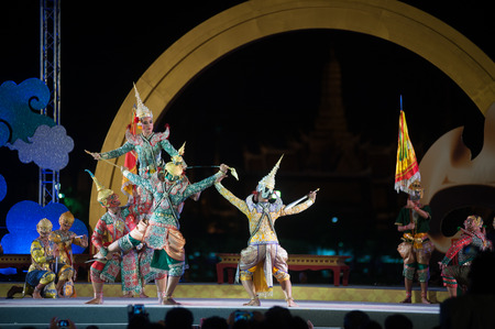 Khon is traditional dance drama art of Thai classical masked in Thailand.