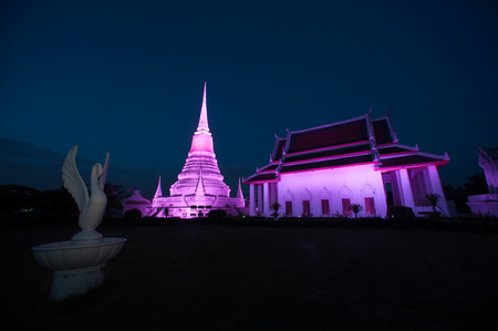 Colorful twilight of Phra Samut Chedi Pagoda in Thailand.