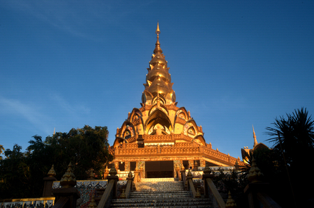 Large outdoor Pagoda statue on Khao Kho mountain at Wat Pha That Phra Sorn Kaew temple.