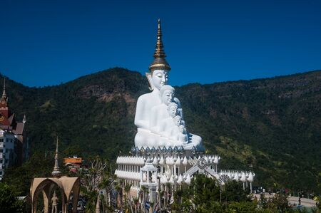 Large outdoor Buddha statue on Khao Kho mountain at Wat Pha That Phra Sorn Kaew temple. Stock Photo