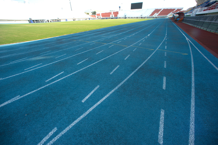 level playing field: Running track lines.