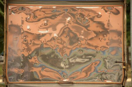 stainless steel sheet: Colorful of reflections on a sheet of stainless steel wall.