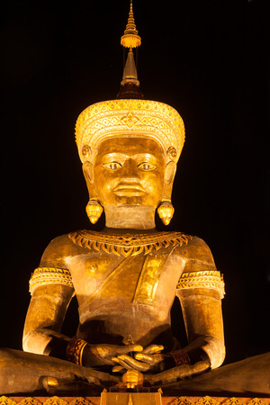 Night Scenes of Large outdoor Phra Phuttha Maha Thammaracha Buddha. Editorial