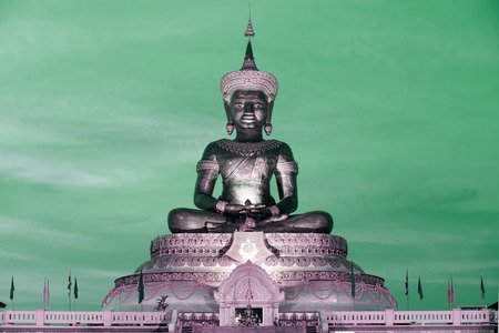 Abstract color of Large outdoor Phra Phuttha Maha Thammaracha Buddha.