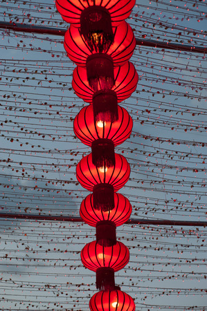 Colorful red Chinese lanterns shine for New Year,Hanging for decorated. Stock Photo