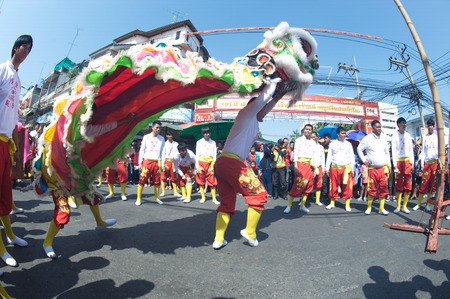 Group of Lion dancing performers during the celebration,Of Chinese New Year in Thailand.