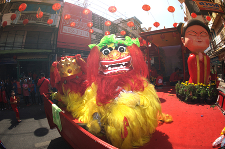 Chinese Lion Dancing in the parade of Chinese New Year Festival.