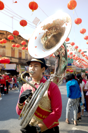Marching band in a parade during Chinese New Year Festival.