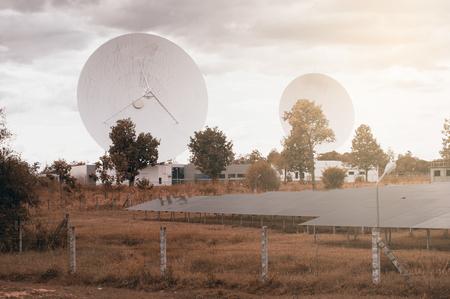 satelite: View of a big long range communication antenna.