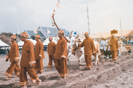 BANGKOK, THAILAND - MAY 13,2015 : Unidentified Government officials attend the ceremony -Perform for an auspicious beginning for planting season on the Royal Plowing Ceremony on May 13,2015 in Bangkok city,Middle of Thailand.
