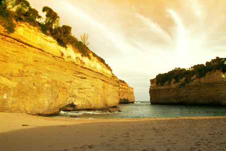 The Loch Ard Gorge is accessed via the Great Ocean Road in Victoria,Australia.
