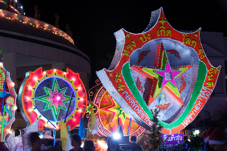 SAKON NAKHON, THAILAND - DECEMBER 25, 2015 : The celebrating Christmas with the dazzling star parade on more than 200 cars together with a Santa Claus and angels parade in Parade of Christmas Star Festival on December 25,2015 in Sakon Nakon ,Thailand.