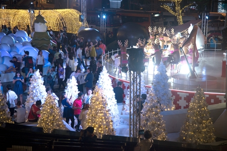 Bangkok , Thailand - November 22,2017:Light decorate beautiful on Christmas Tree Celebration 2018 at Central World Department store for Christmas day and Happy New Year  event on November 22,2017 in Bangkok capital city.