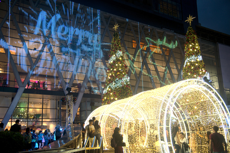 Bangkok , Thailand - November 24 , 2017 : Tunnel of light decorate beautiful on Christmas Tree Celebration 2018 at Central World Department store for Christmas day and Happy New Year  event on November 24,2017 in Bangkok capital city , Thailand.