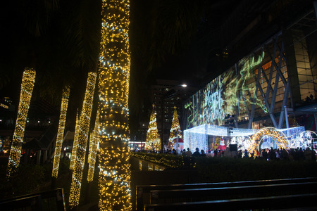 Bangkok , Thailand - November 24 , 2017 : Light decorate beautiful on Christmas Tree Celebration 2018 at Central World Department store for Christmas day and Happy New Year  event on November 24,2017 in Bangkok capital city , Thailand.