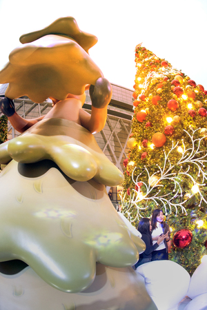 Bangkok , Thailand - December 5,2017: Animal statue and light decorate beautiful on Christmas Tree Celebration 2018 at Central World Department store for Christmas day and Happy New Year  event on December 5,2017 in Bangkok capital city, Thailand. Editorial
