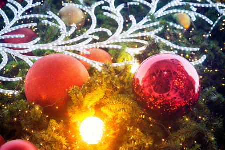 Colorful balls on Christmas tree. Stock Photo